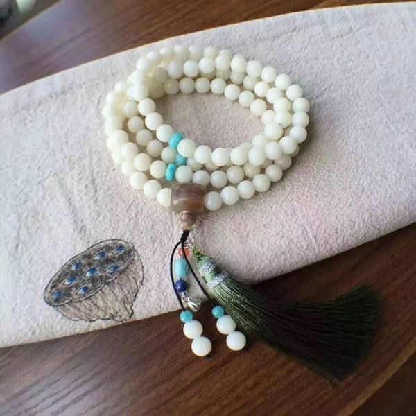 New 2016 High-end atmosphere Pure natural in Hainan White jade Bodhi Beads Necklace/Bracelet dual purpose