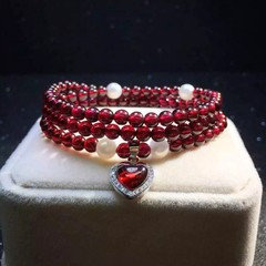 2016 Running volu style,Claret Garnet 4.5 mm Three ring 5A Bracelet+Pearl+Heart Pendant